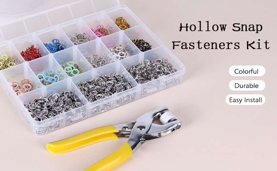 hollow snap fasteners kit snap button kit snap on tools cloth diy crafting colorful snap buttons kit