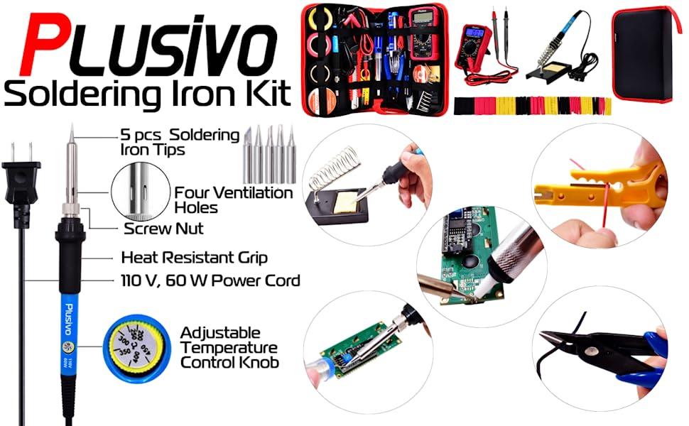 soldering iron tweezers screwdriver wire pcb prototyping desoldering diagonal cutter heat shrink