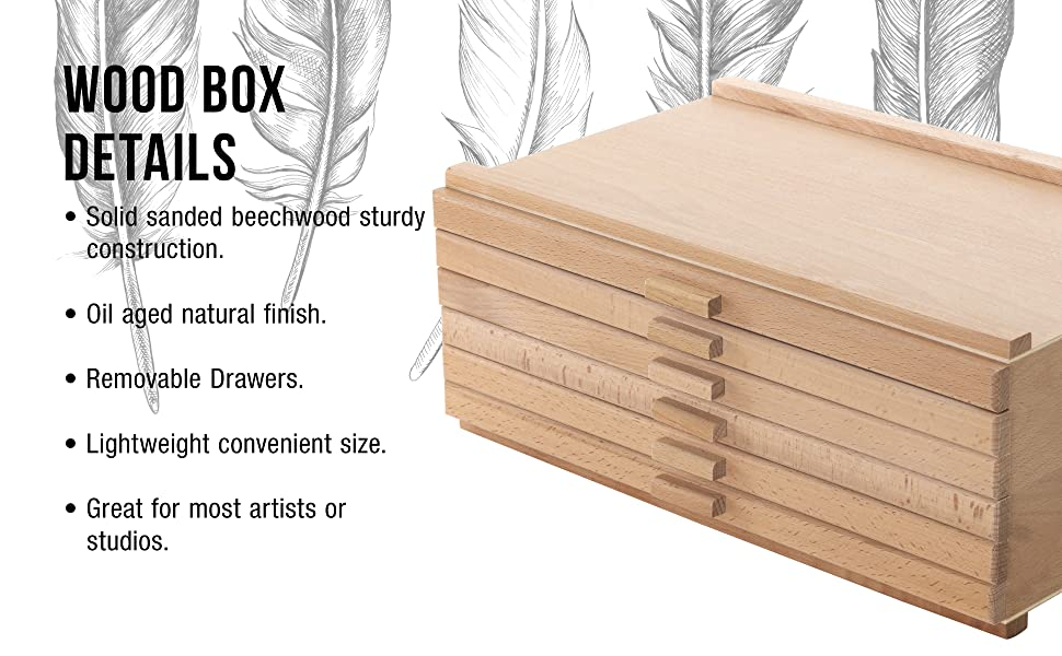 U.S. Art Supply 6 Drawer Wood Artist Storage Box