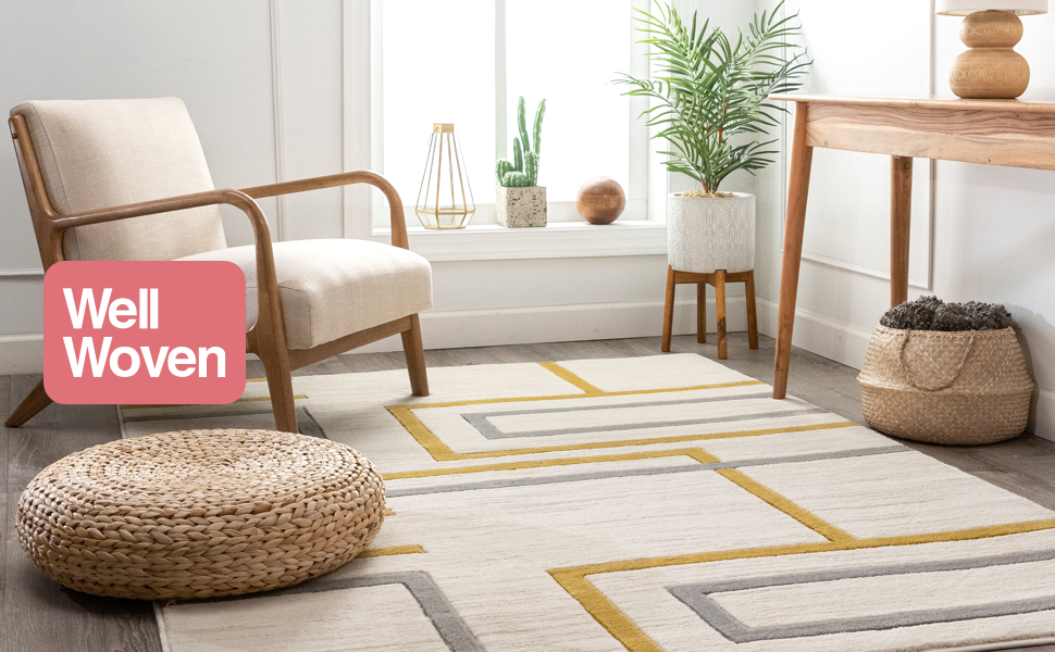 Well Good Vibes yellow gold ivory grey beige geometric lines boxes squares area rug.