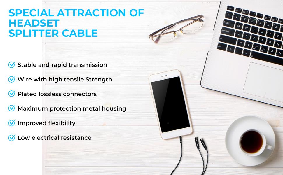 y splitter cable 1 female and 2 male splitter cable for headphone mic audio splitter mic headphone