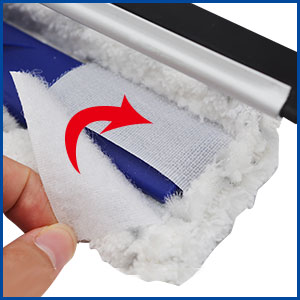 microfiber window squeegee with scrubber easy to assemble support machine washable microfiber pads