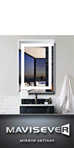 mavisever 20 x 28 inch led bathroom mirror wall mounted led lights backlit vanity mordern wall