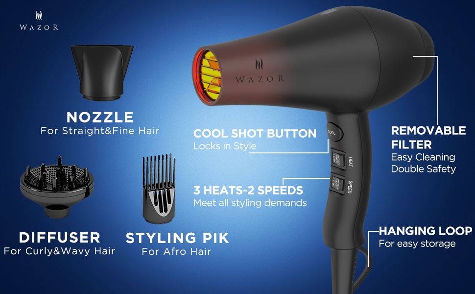 Wazor Professional Ionic Hair Dryer With Diffuser Far