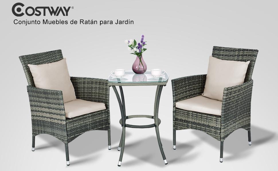 COSTWAY Conjunto Muebles de Ratán para Jardín Terraza Patio Balcón ...
