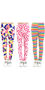 Adorel Leggings Estampado Pantalón Stretch para Niña 3 Pack