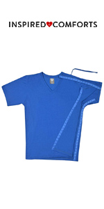 Post Surgery Recovery & Rehab Left Side Access Shirt with Hidden Snaps - V Neck
