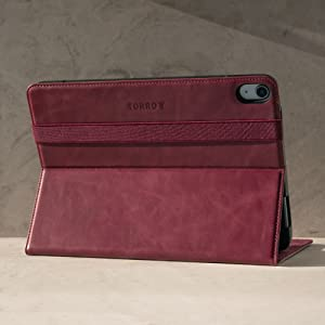TORRO Genuine Leather Stand Case Compatible with the Apple iPad Air 4th Generation (Purple)