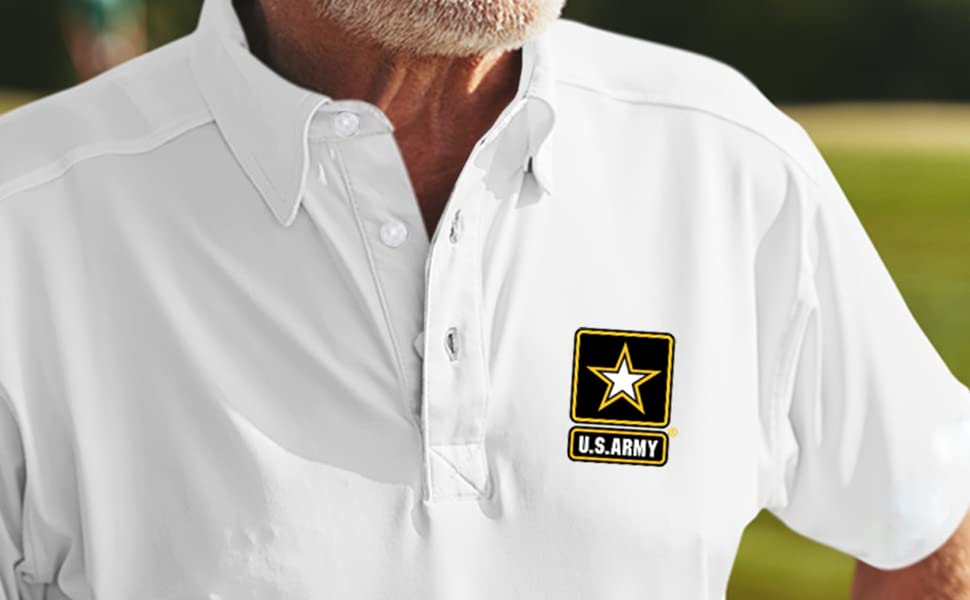 US Army White Polo Shirt Star Logo apparel veteran patriotic honor duty embroidered gift airborne
