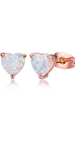 opal earrings,earrings for women,heart earrings,girls earrings,stud earrings,birthstone earrings
