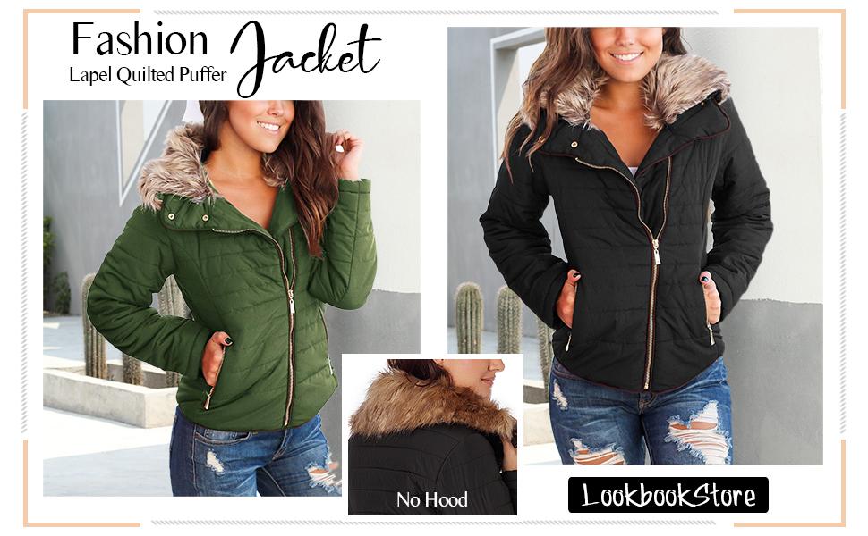 Womens winter lightweight warm zip down faux fur fleece puffer jacket coat quilted parka coat