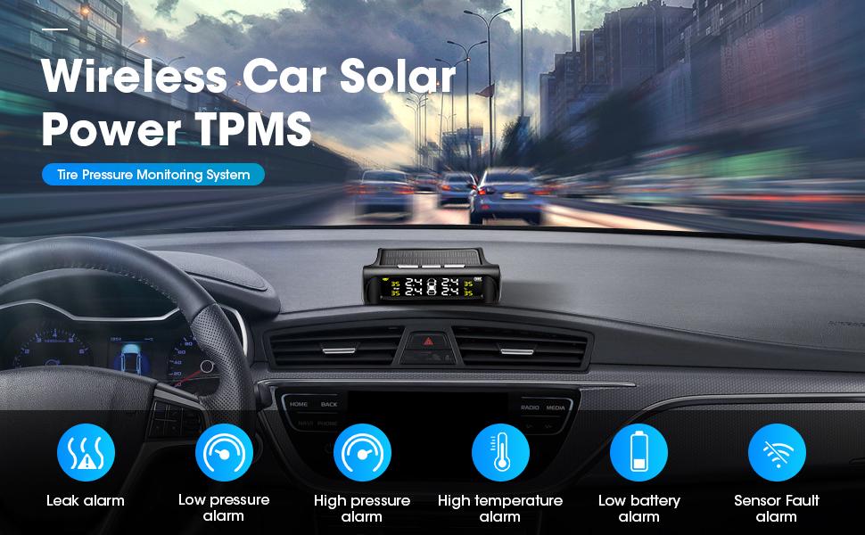 Jansite Solar Power Universal Wireless Tire Pressure Monitoring System