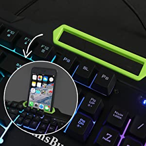 gaming keyboard with phone holder