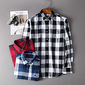 Men Dress Buffalo Plaid gingham Checkered Fitted button down slim fit Long Sleeve Flannel Shirt Work