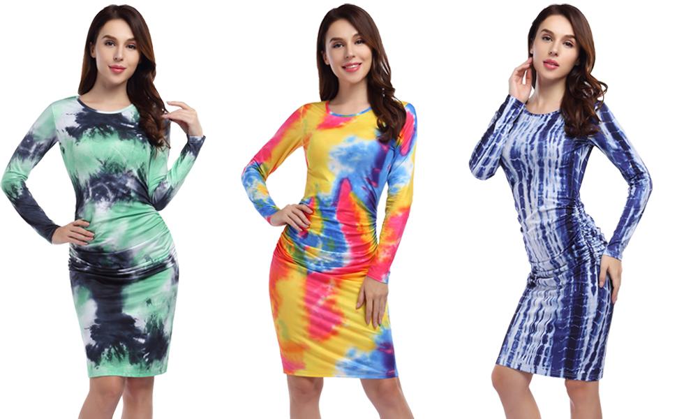 GloryStar Women's Short Long Sleeve Ruched Midi Bodycon Sheath Pencil T Shirt Dress