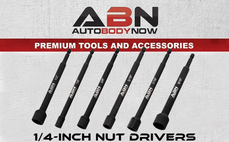 ABN 1/4-inch nut drivers Autobodynow premium tools and accessories 1/2 1/4 3/8 5/16 7/16 9/16 inches