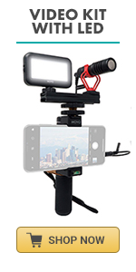 Smartphone Video Kit by Movo with LED light and VXR10 Microphone rode videomicro shotgun microphone