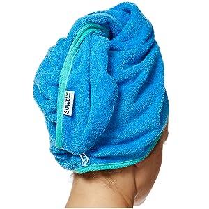 Turban Handtuch mit Knopf Sowel/® Haarturban aus 100/% Bio Baumwolle Grau//Pink Damen GOTS Zertifiziert