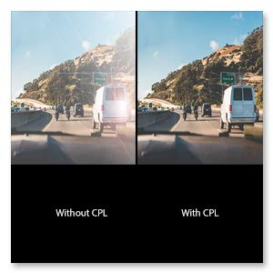 The CPL Circular Polarizing Lens Filter reduces reflection and glare from windshields, road sign