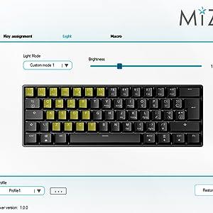 Mizar Luna mz60 customizable PCB software lighintg