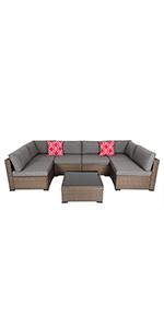 7 PCs Patio Sectional Sofa