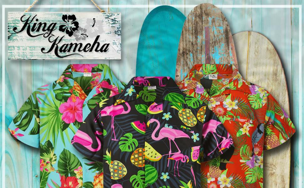King Kameha Summer Hawaiian Shirt Beach Surf Flowers Flamingo Pineapple Melons Palmleave Men Fashion