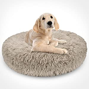 brown donut dog bed