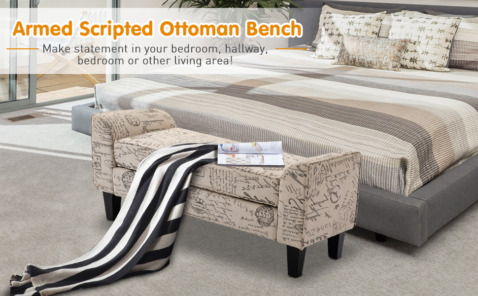Armed Scripted Ottoman Bench