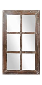Rustic Rectangular Mirrored Window Frame Décor