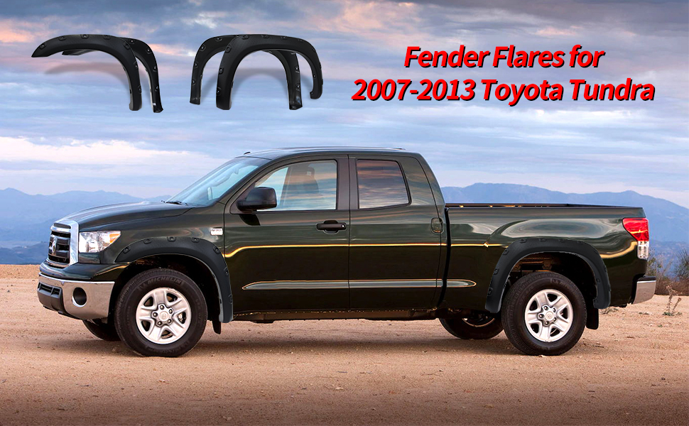 Amazon Com Fender Flares Kit Compatible For 2007 2013 Toyota Tundra Uv Protected Dura Flex Material Textured Matte Black Finish Front Rear Wheels Pocket Rivet Style Automotive