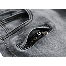 Gray Jeans Ripped Distressed Biker Jeans Elastic Skinny Denim Pants For Men Pleated Fashion Designer