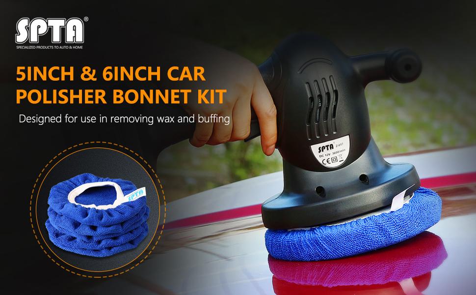 Amazon Com Spta Car Polisher Pad Bonnet Soft Microfiber Polishing Bonnet Buffing Pad Cover For 5 And 6 Car Polisher Pack Of 5pcs Automotive