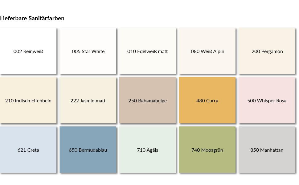 Deze afbeelding toont de beschikbare kleuren voor de Cramer reparatieset