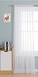 Rod Pocket White Sheer Curtains 84 Dots Printed Linen Look Curtains