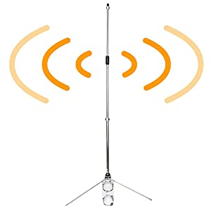 Retevis MA01 Antena de Alta Ganancia VHF 135-174MHz Antena de Estación Base Omnidireccional de Aleación de Aluminio con Conector SL16 para Mobile ...