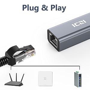UGREEN Adattatore di Rete USB 2.0 a 100Mbps Ethernet RJ45 Lan USB Rete Adattatore di Rete