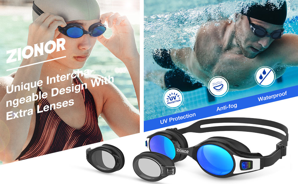 ZIONOR G9 Premium Swim Goggles with Extra Interchangeable Lenses and 3 Sizes Nose Bridges UV Protection Anti-Fog Leakproof Swimming Goggles Adjustable Strap for Men Women Adult Youth