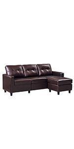 Brown PU Sectional Sofa