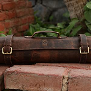 premium quality leather knife roll chef indoor outdoor home