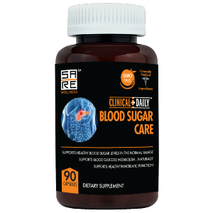 clinical daily blood sugar care supplement product bottle
