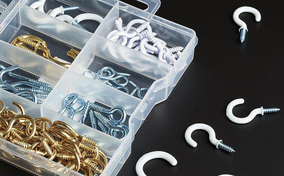 Assorted Large Hook /& Eye Set Hardware DIY Chrome Heavy Duty Screw Hook Set