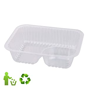 Nacho Trays (100 Pack) Disposable 2 Compartment Food Tray - 6 x 5 Nacho Tray - Clear Plastic