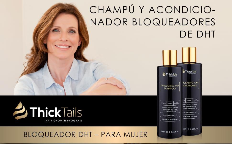 ThickTails Champú y Acondicio De Crecimiento De Cabello - Con Biotina. Para Mujer. Bloquea La DHT Y Reduce La Pérdida Del Cabello: Amazon.es: Belleza