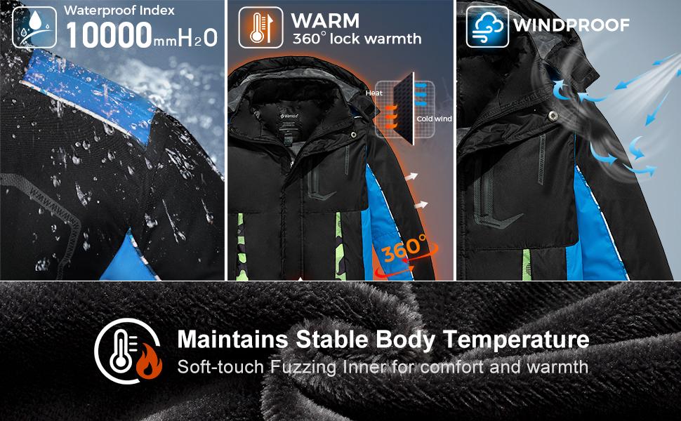 Wantdo Boy's Waterproof Fleece Ski Jacket