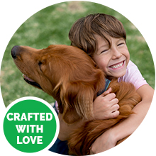 crafted with love safe facility golden retriever dog girl hugging hemp treats