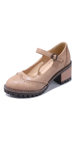 Women's Platform Lace-Up Wingtips Square Toe Oxfords Shoe