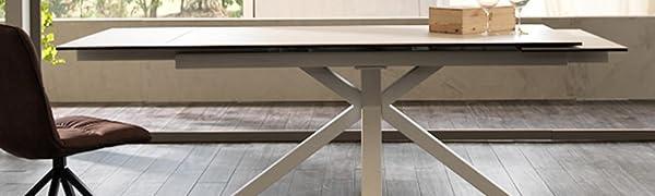 Tavolo allungabile da 160cm a 240cm con due allunghe indipendenti color ceramica bianca