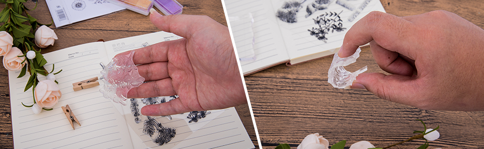 Sturdy and durable clear rubber stamps are easy to clean with water and towel and can be re-used.