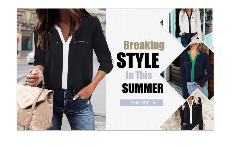 casual black blouse for jeans for women office