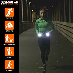 What is included with Knuckle Lights Colors running lights for runners and walking at night
